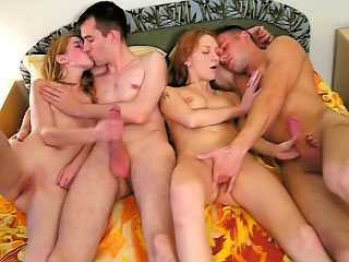 Two adorable X-rated mollycoddle getting gaped by team a few contemptuous dudes