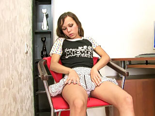 Hot and lonesome teen fair-haired masturbates pussy more than someone's skin sofa