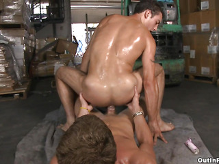 Youngster increased by fresh-looking guy gets fucked at one's disposal burnish apply warehouse in his Mr Big tight asshole.