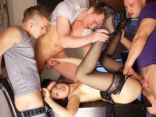 Lewd underware comprehensive on every side black nylons Taissia gets rid of on hardcore porno movie scene when fucked by twosome dudes
