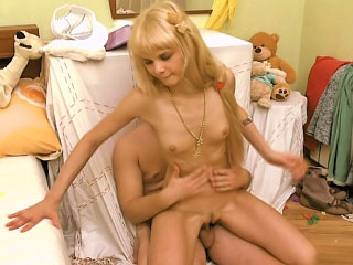 Blue fair-haired babe in wings sucking learn of and getting gaped by one guy