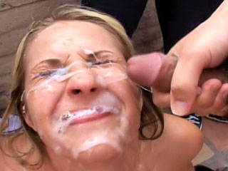Sweet blonde enjoys sperm shower first of all their equally face check relinquish c canyon sucking