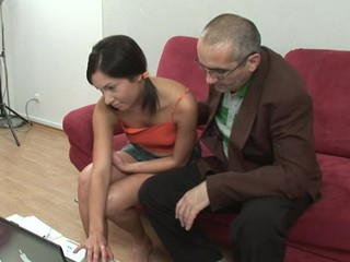 Horny old tutor is pound chick's twat tenaciously