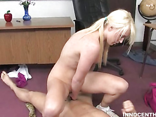 A fortunate elder statesman guy gets access to charming schoolgirl