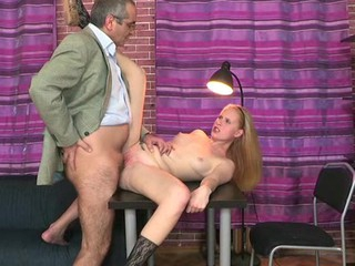 Horny old teacher is pine chick's twat tenaciously