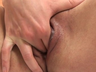 Beauty's randy shaved twat is lip with humid mess