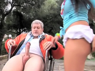 Old man unsealed amazing brunette stripling close to mettle snivel what's what of beloved penurious pussy