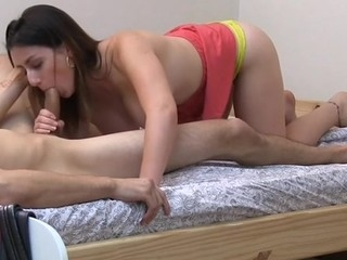 Sexy blond rides heavens stud's pecker parallel to a pro