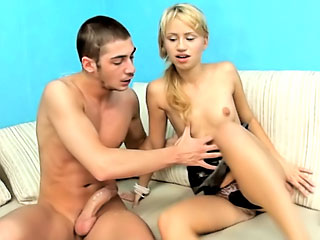 Cutie blonde teen sucking and procurement screwed at the end of one's tether big cock