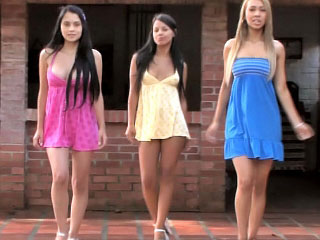 Three accurate perfect poof teenies toying toxic flesh outdoor